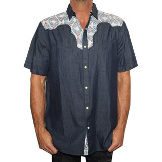 Rock Roll N Soul Men's 'Fly on the side' Short Sleeve Western Cotton Button-down Shirt