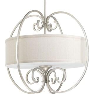 Progress Lighting Overbrook Natural Linen Steel 3-light Small Pendant