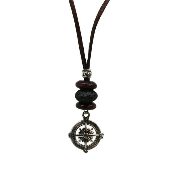 Compass Mens Leather Cord Essential Oil Diffuser Necklace