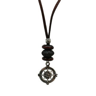 """""""Compass"""" Leather Cord Essential Oil Diffuser Necklace"""