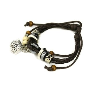 'Unite' Aromatherapy Metal Charms Brown Leather Oil Diffuser Bracelet