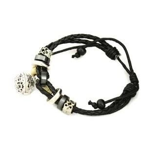 """Unite"" Black Leather Essential Oil Diffuser Bracelet"