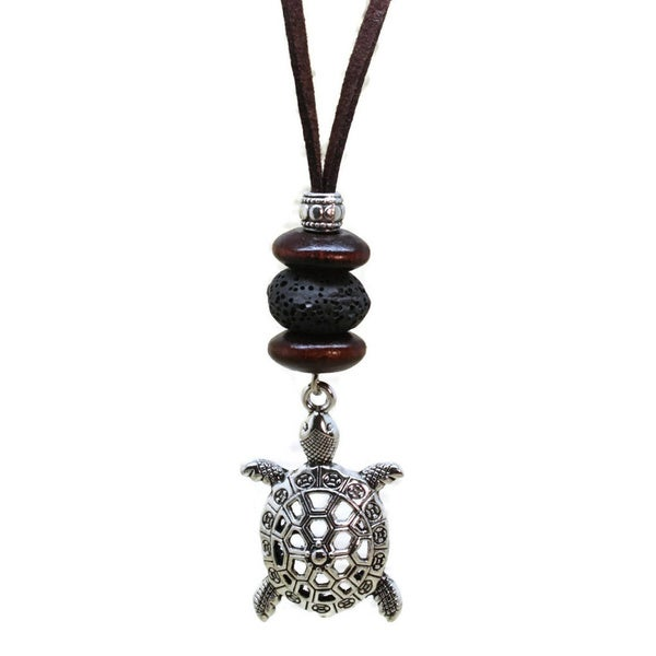 Turtle Boys Essential Oil Diffuser Leather Necklace with Lava Stone