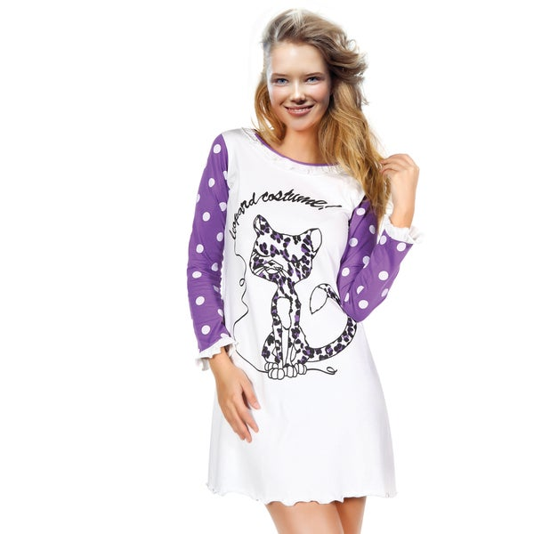 Miorre Women's White/Purple Cotton Sleep Shirt with Leopard Graphic