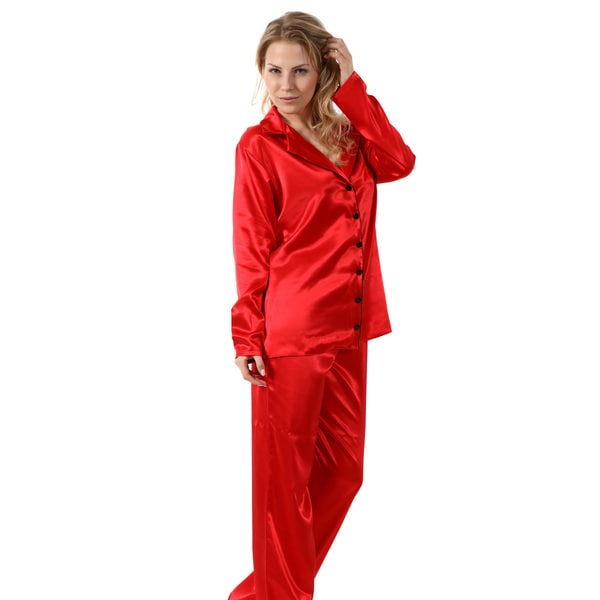 Miorre Women's Red/Pink Polyester Satin Classic Long-sleeve Pajama Set
