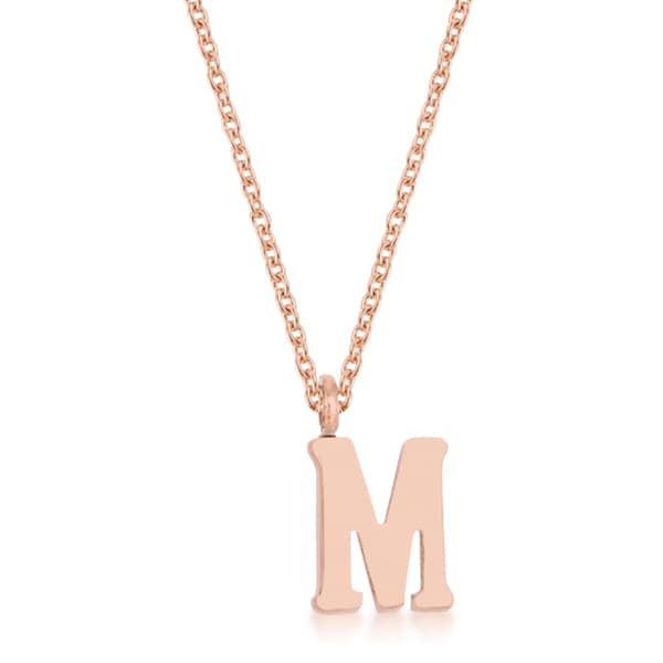 Kate Bissett Elaina Rose Gold Stainless Steel M Initial Necklace