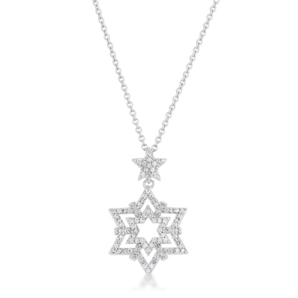 Kate Bissett Stella 0.3 Carat CZ Rhodium Star Drop Necklace