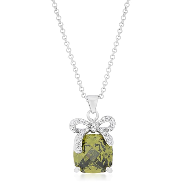 Kate Bissett Olivine Bow Pendant Necklace