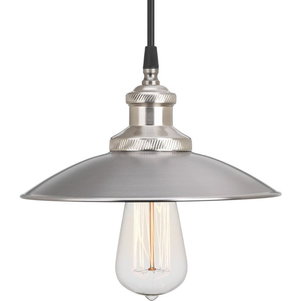 Progress Lighting P5161-81 Archives Nickel Steel/Porcelain 1-light Mini Pendant with Black Cloth Cord