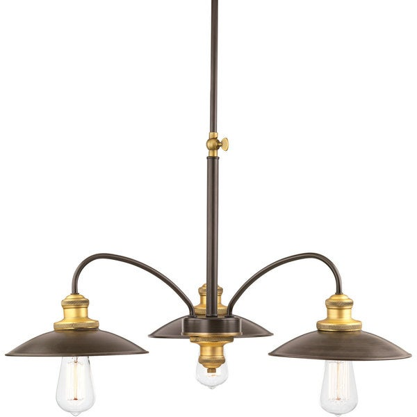 Progress Lighting P4768-20 Archives Bronze Steel 3-light Chandelier with Iron Shade 19305484