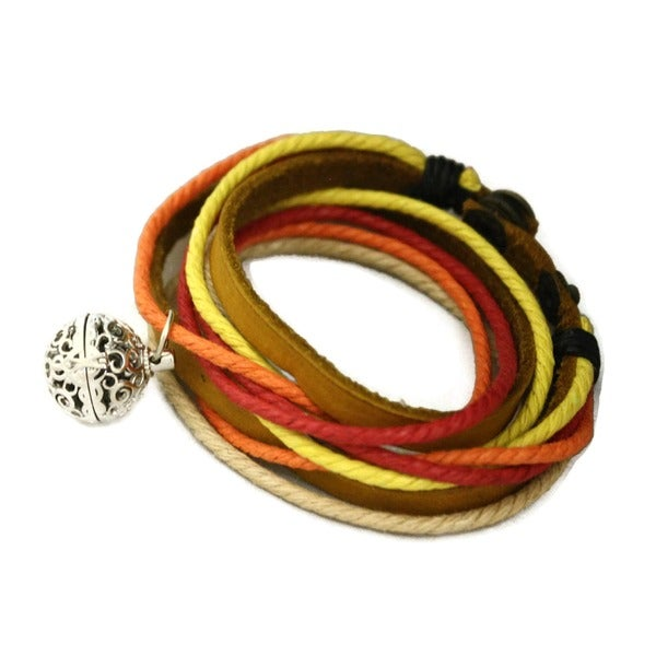 Sunset Leather Wrap Essential Oil Diffuser Bracelet/ Choker Necklace