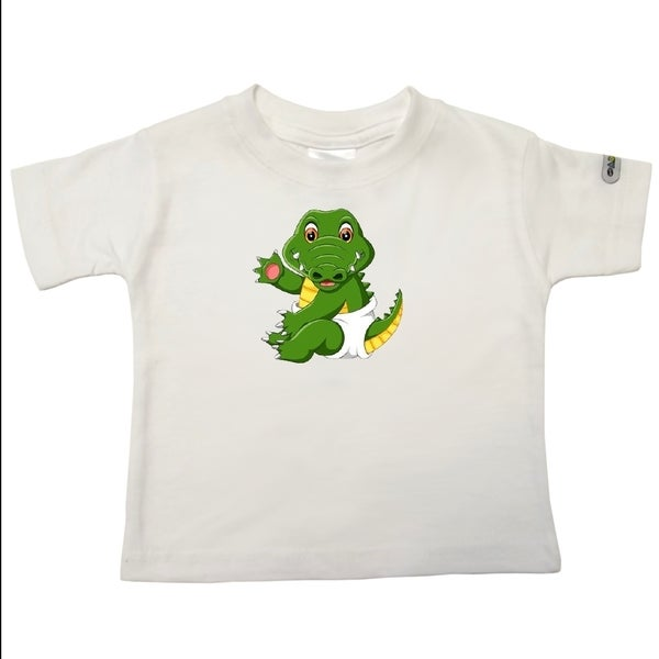 Infant 'Baby Crocodile' White Cotton T-shirt