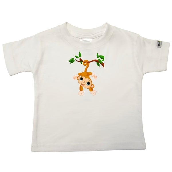 Infant 'Baby Monkey' White Cotton T-shirt