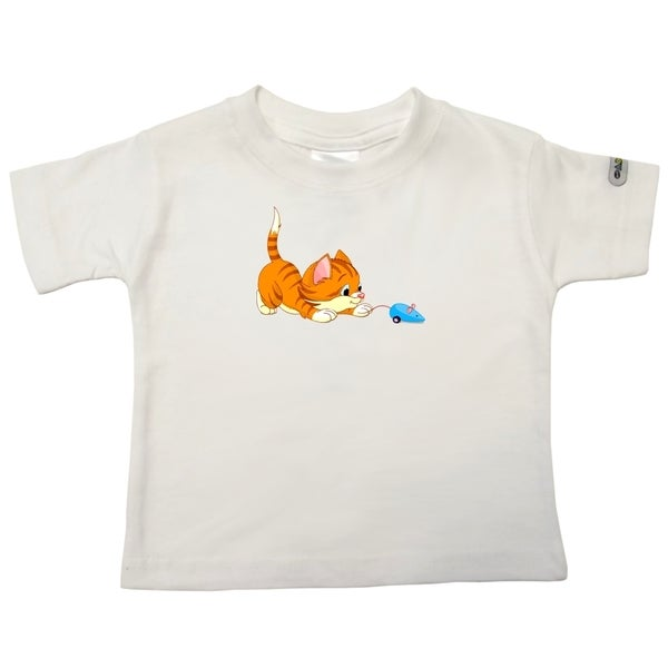 Cat Playing with Toy White Cotton Printed Infant T-shirt