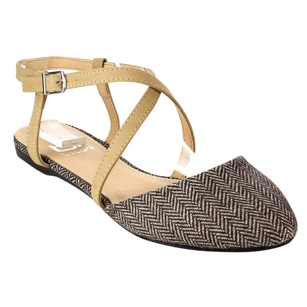 Betani Women's FB66 Beige Faux-leather Classic Twill Crisscross Thin-strap Ballet Flats