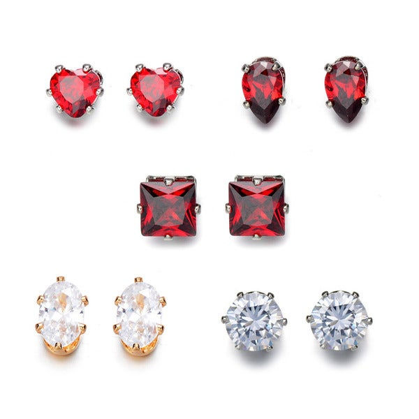 5 Piece Zircon Earring Set Red CZ Heart Earrings Clear CZ Stud Earrings