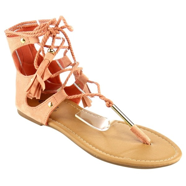 QUPID Women's Gladiator Nubuck Flat Sandals