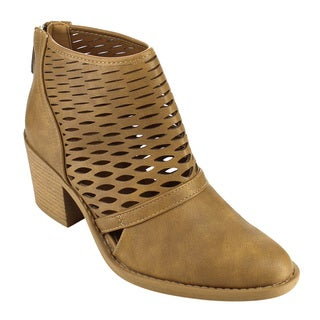 Qupid Women's Faux Leather Ankle Booties