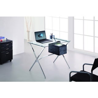 Brassex Metal Glass-top Office Desk