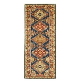 EORC Blue Super Kazak Hand-knotted Wool Rug (2'11 x 6'11)