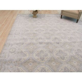 EORC Hand-knotted Blue/Silver/Ivory/Brown Wool Sotan Rug (9' x 12')