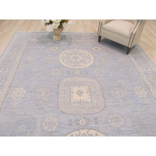 EORC Blue Wool Hand-knotted Rug (9' x 12')