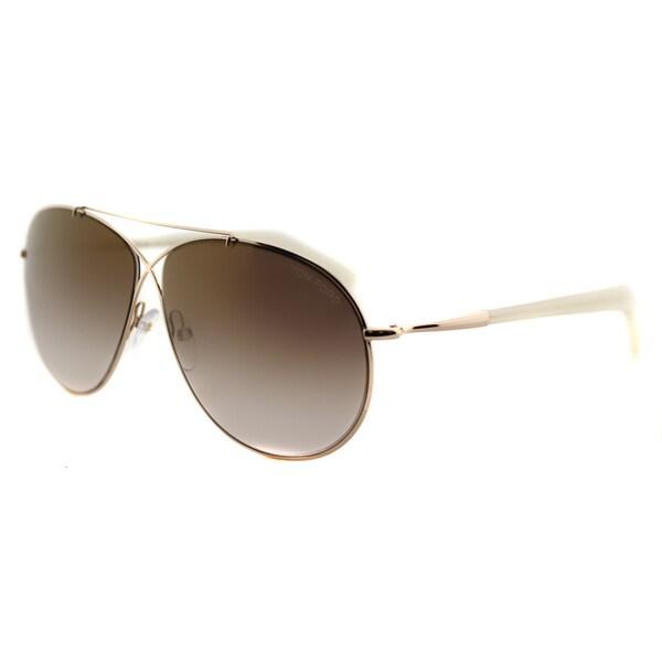 Tom Ford TF 374 28G Eva Pilot Rose Gold Metal Aviator Sunglasses Brown Mirror Lens