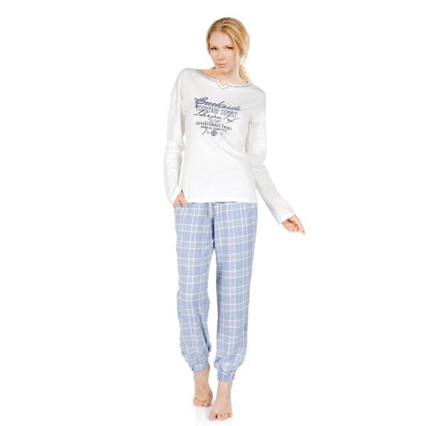 Miorre Ladies Blue/White Cotton Long-sleeved Plaid Pajama Set