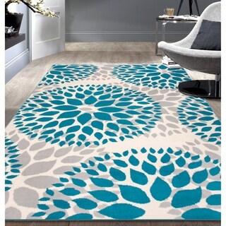 Modern Floral Design Blue Area Rug (7'6x9'5)