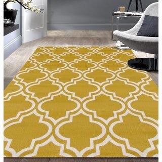 Modern Moroccan Trellis Yellow Area Rug (7'6x9'5)