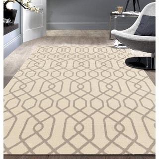 Modern Trellis Pattern Cream Area Rug (7'6x9'5)