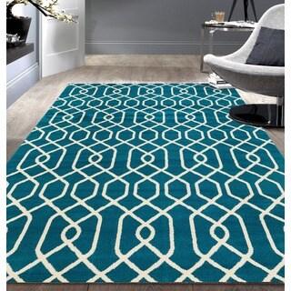 Modern Trellis Pattern Blue Area Rug (7'6x9'5)