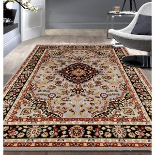 Traditional Medallion Design Grey Area Rug (5'x7')