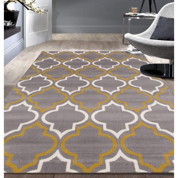 Modern Moroccan Trellis Grey/ Yellow Area Rug (5'x7