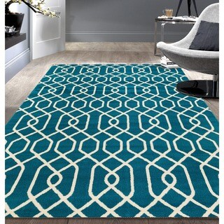 Modern Trellis Pattern Blue Area Rug (5'x7')