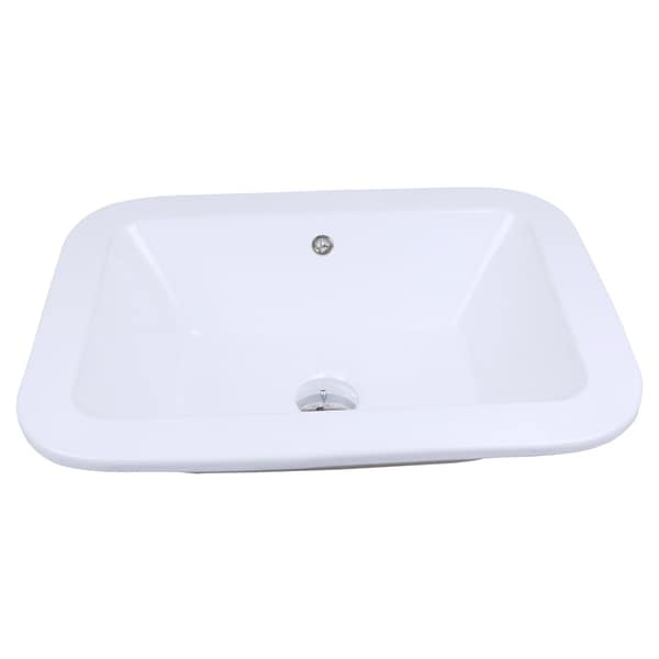 22-in. W x 16-in. D Drop In Rectangle Vessel In White Color For Deck Mount Faucet