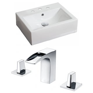 20.5-in. W x 16-in. D Rectangle Vessel Set In White Color With 8-in. o.c. CUPC Faucet