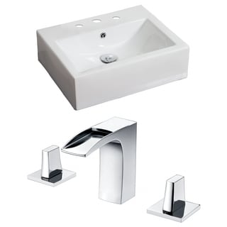 20-in. W x 18-in. D Rectangle Vessel Set In White Color With 8-in. o.c. CUPC Faucet