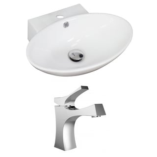 21-in. W x 15-in. D Oval Vessel Set In White Color With Single Hole CUPC Faucet