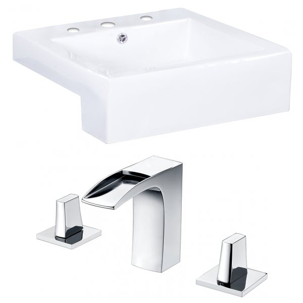 20-in. W x 20-in. D Rectangle Vessel Set In White Color With 8-in. o.c. CUPC Faucet