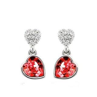 Crystal Rhinestone Double Heart Dangle Earrings