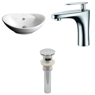 23-in. W x 15-in. D Oval Vessel Set In White Color With Single Hole CUPC Faucet And Drain