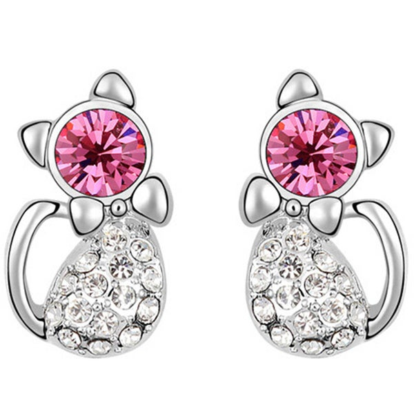 Cute Cat Crystal Rhinestone Stud Earrings