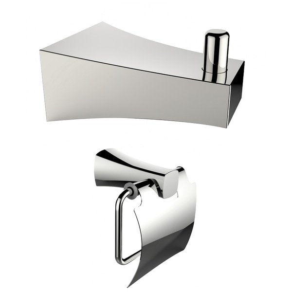 Chrome Plated Toilet Paper Holder And Robe Hook Accessory Set