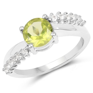 Malaika .925 White Sterling Silver with 1.54-carat Peridot and White Topaz Sterling Silver Ring