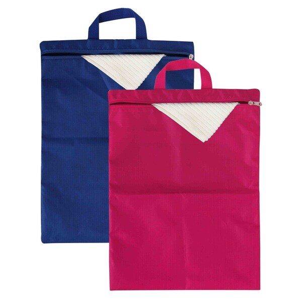 Home Basics Blue/Pink Nylon Waterproof Foldable Travel Laundry Bag