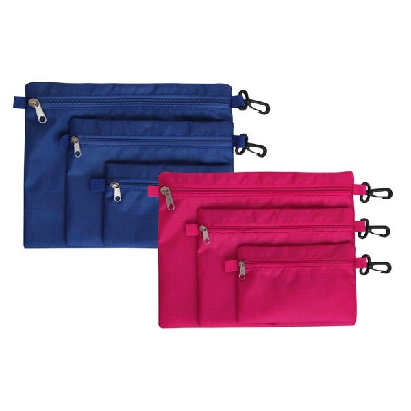 Home Basics Blue, Pink Nylon Waterproof 3-piece Toiletries Bag