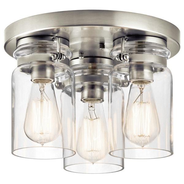 Kichler Lighting Brinley Collection 3 Light Brushed Nickel Flush Mount 18927591 Overstock