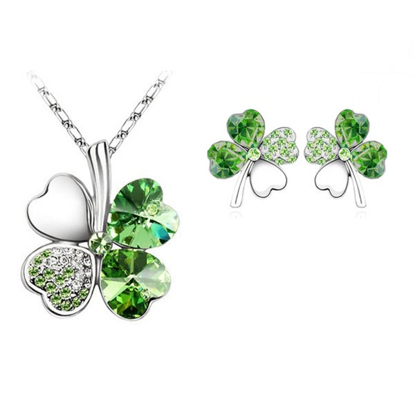Austrian Crystal Green Four Leaf Clover Silver Earring and Necklace Set