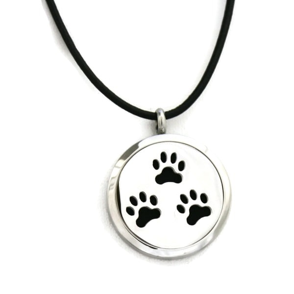 """Paw-some"" Paw Prints Essential Oil Diffuser Necklace- 18"""